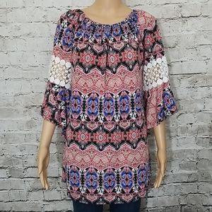 🏵winWin Tunic pinwheel sleeved nwot size L-XL